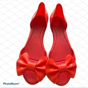 100% Vegan red Melissa (Mels) flats with bow